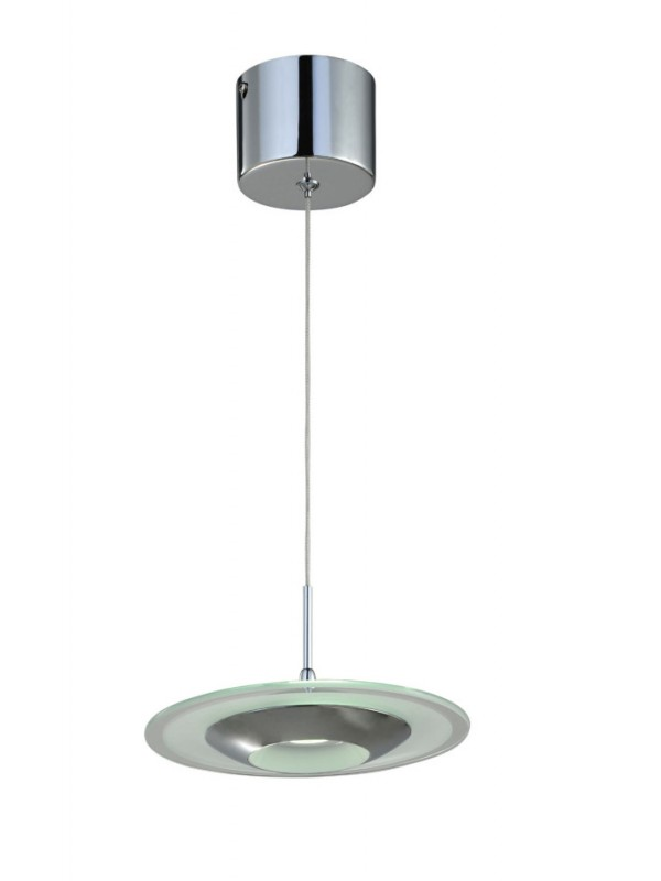 LED Pendant Light One Head Straight Droplight Flying Saucer with Glass 'Audra'